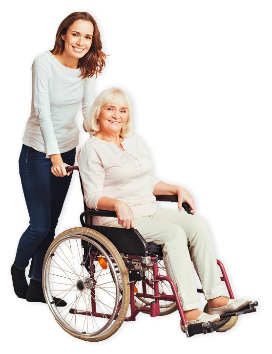 senior woman on wheelchair accompanied by adult woman