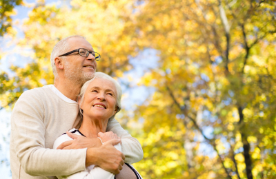senior couple smiling outdoor
